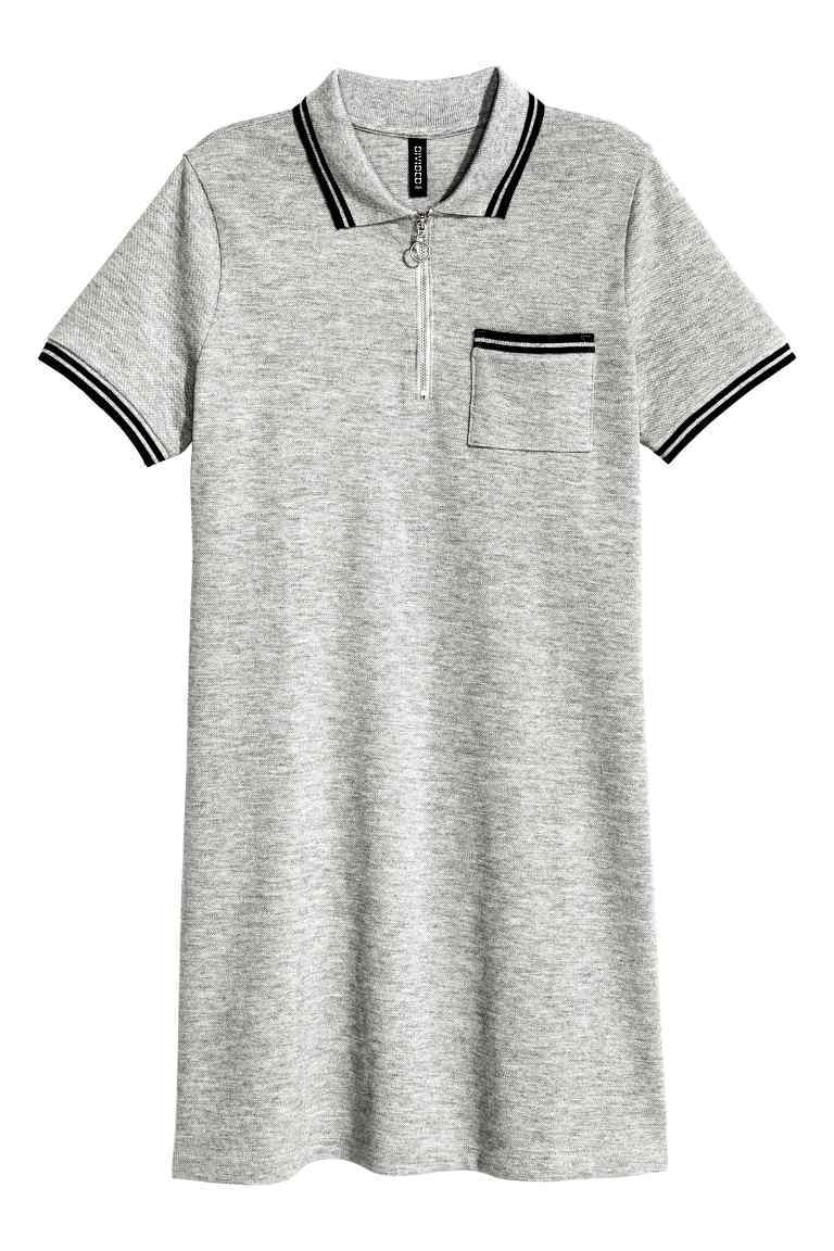 Piqué Dress With A Zip - style: shirt; length: mid thigh; neckline: shirt collar/peter pan/zip with opening; predominant colour: mid grey; secondary colour: black; occasions: casual; fit: straight cut; fibres: cotton - stretch; sleeve length: short sleeve; sleeve style: standard; pattern type: fabric; pattern size: light/subtle; texture group: jersey - stretchy/drapey; pattern: marl; wardrobe: basic; season: a/w 2016