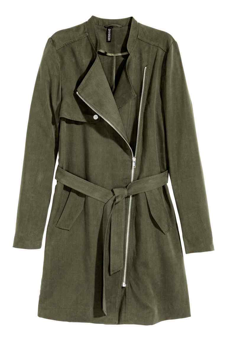 Lyocell Trenchcoat - pattern: plain; style: trench coat; collar: standard lapel/rever collar; length: mid thigh; predominant colour: dark green; occasions: casual, creative work; fit: tailored/fitted; fibres: polyester/polyamide - 100%; waist detail: belted waist/tie at waist/drawstring; sleeve length: long sleeve; sleeve style: standard; texture group: crepes; collar break: medium; pattern type: fabric; season: a/w 2016; wardrobe: highlight