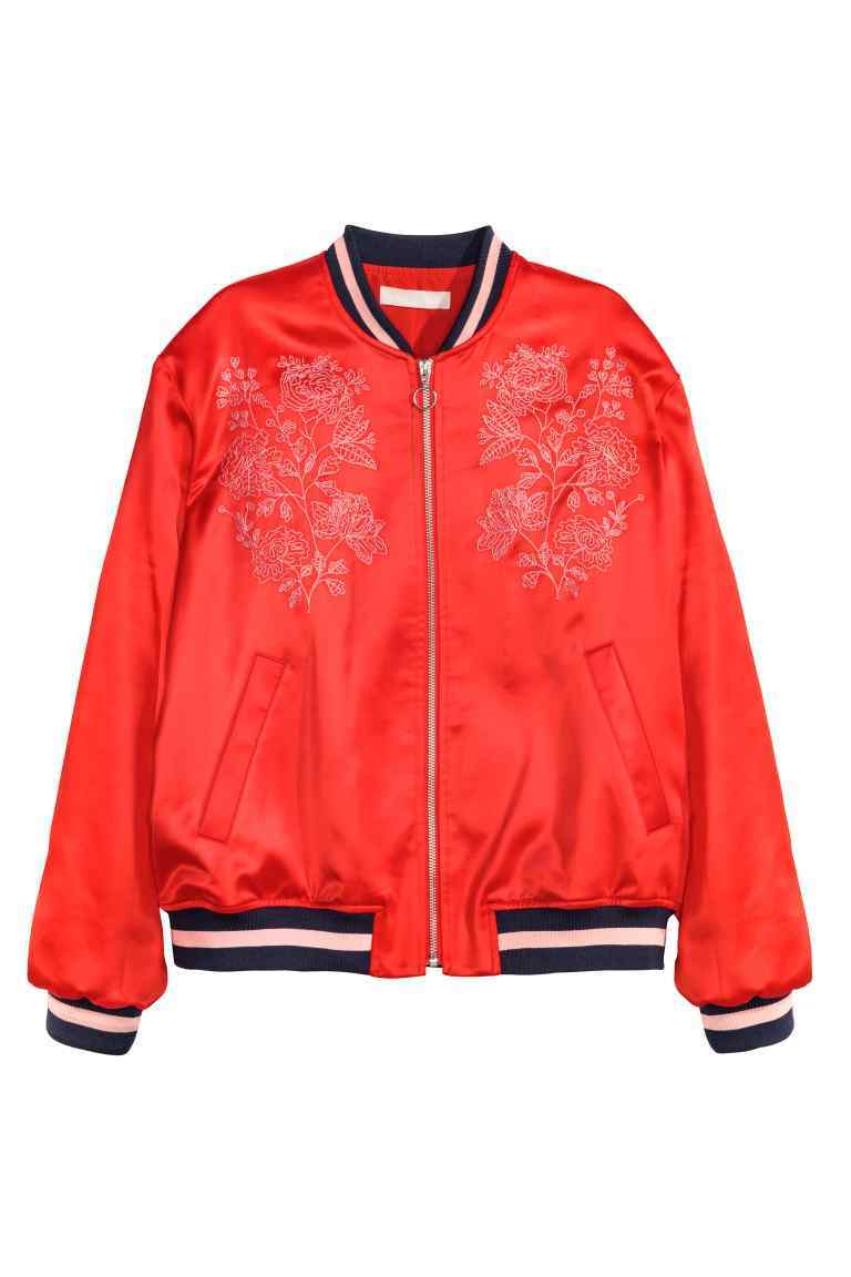 Embroidered Bomber Jacket - pattern: plain; collar: round collar/collarless; style: bomber; predominant colour: true red; secondary colour: black; occasions: casual, creative work; length: standard; fit: straight cut (boxy); fibres: polyester/polyamide - stretch; sleeve length: long sleeve; sleeve style: standard; collar break: high; pattern type: fabric; texture group: woven light midweight; embellishment: embroidered; season: a/w 2016; wardrobe: highlight