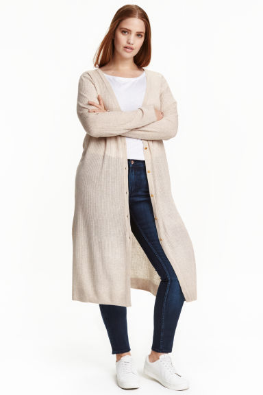 + Long Cardigan - pattern: plain; neckline: collarless open; style: open front; length: below the knee; predominant colour: ivory/cream; occasions: casual, creative work; fit: loose; sleeve length: long sleeve; sleeve style: standard; texture group: knits/crochet; pattern type: knitted - fine stitch; fibres: viscose/rayon - mix; season: a/w 2016
