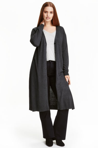 + Long Cardigan - pattern: plain; neckline: collarless open; style: open front; length: below the knee; predominant colour: black; occasions: casual, creative work; fit: loose; sleeve length: long sleeve; sleeve style: standard; texture group: knits/crochet; pattern type: knitted - other; fibres: viscose/rayon - mix; wardrobe: basic; season: a/w 2016