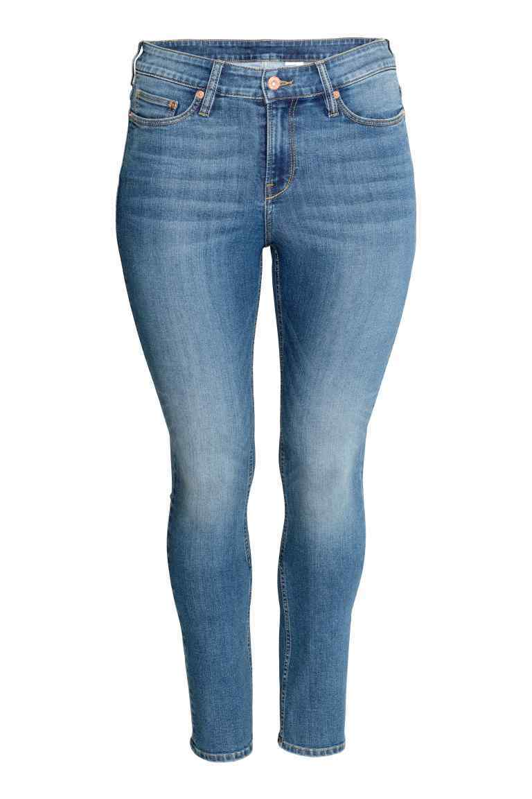 + Straight Regular Jeans - style: skinny leg; pattern: plain; waist: high rise; predominant colour: denim; occasions: casual, creative work; length: ankle length; fibres: cotton - stretch; jeans detail: washed/faded; texture group: denim; pattern type: fabric; wardrobe: basic; season: a/w 2016