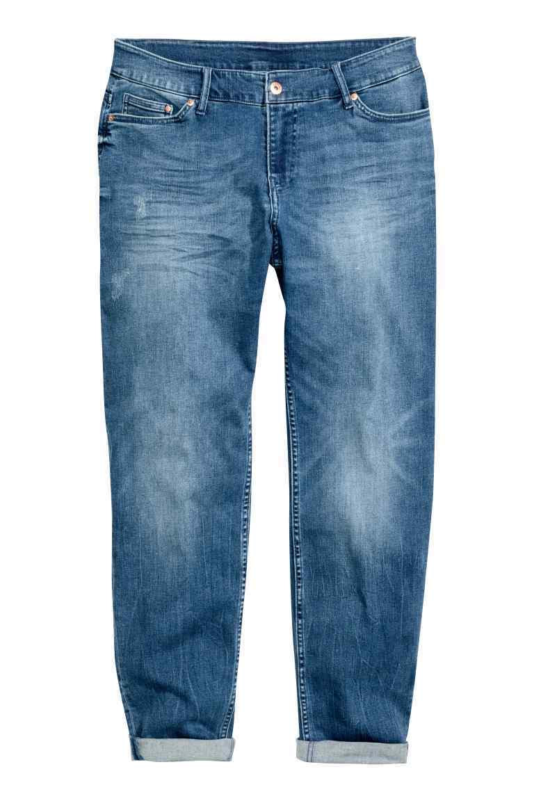 + Boyfriend Low Jeans - style: boyfriend; pattern: plain; waist: mid/regular rise; predominant colour: denim; occasions: casual, creative work; length: ankle length; fibres: cotton - stretch; jeans detail: washed/faded; texture group: denim; pattern type: fabric; wardrobe: basic; season: a/w 2016
