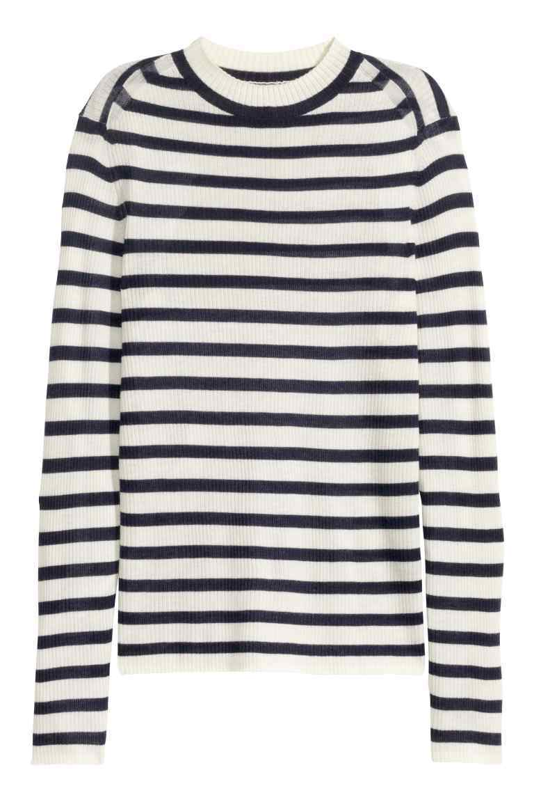 Cashmere Jumper - pattern: horizontal stripes; neckline: high neck; style: standard; predominant colour: white; secondary colour: black; occasions: casual, creative work; length: standard; fit: standard fit; fibres: cashmere - 100%; sleeve length: long sleeve; sleeve style: standard; texture group: knits/crochet; pattern type: knitted - other; pattern size: standard; season: a/w 2016; wardrobe: highlight