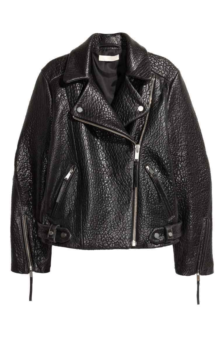 Leather Biker Jacket - pattern: plain; style: biker; collar: asymmetric biker; predominant colour: black; occasions: casual, creative work; length: standard; fit: straight cut (boxy); fibres: leather - 100%; sleeve length: long sleeve; sleeve style: standard; texture group: leather; collar break: high/illusion of break when open; pattern type: fabric; wardrobe: basic; season: a/w 2016