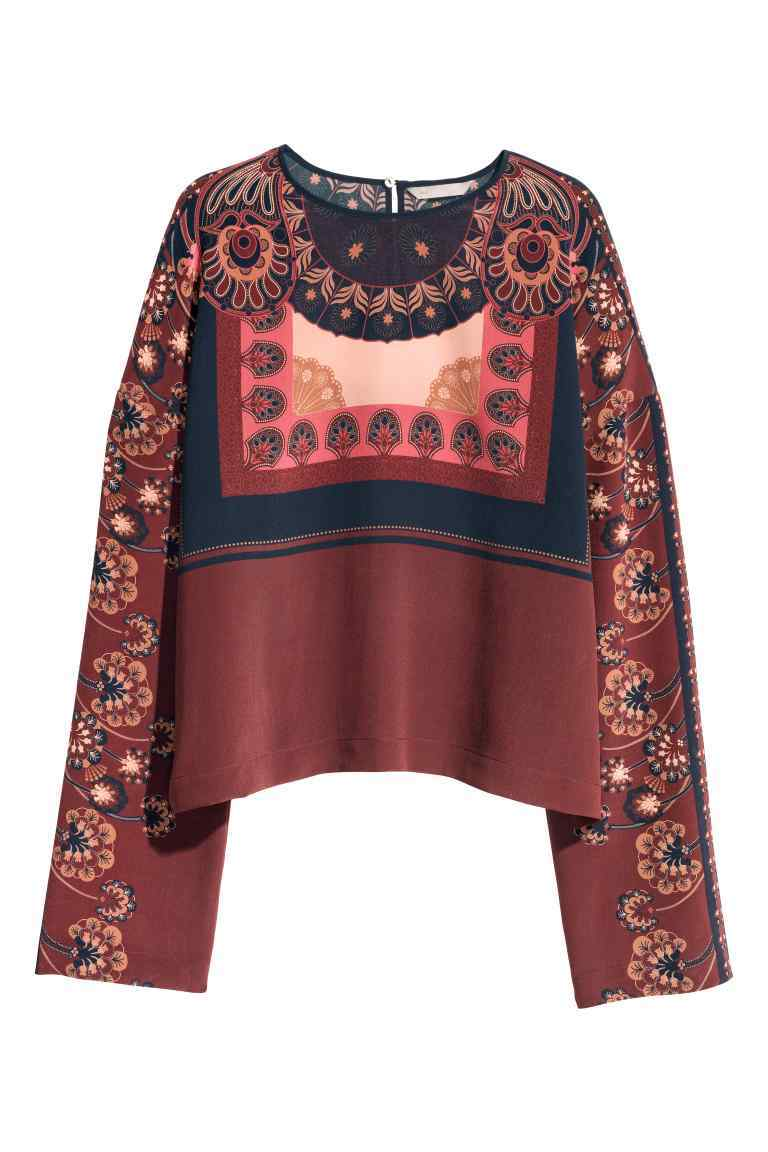 Patterned Silk Blouse - neckline: round neck; style: blouse; predominant colour: burgundy; occasions: casual, creative work; length: standard; fibres: silk - 100%; fit: body skimming; sleeve length: long sleeve; sleeve style: standard; texture group: silky - light; pattern type: fabric; pattern: patterned/print; pattern size: big & busy (top); multicoloured: multicoloured; season: a/w 2016; wardrobe: highlight