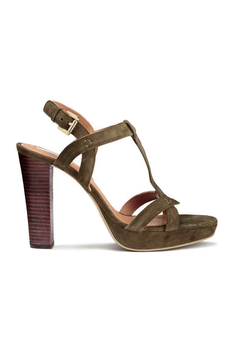 Suede Platform Sandals - predominant colour: khaki; occasions: evening, occasion; material: suede; ankle detail: ankle strap; heel: block; toe: open toe/peeptoe; style: strappy; finish: plain; pattern: colourblock; heel height: very high; shoe detail: platform; season: a/w 2016