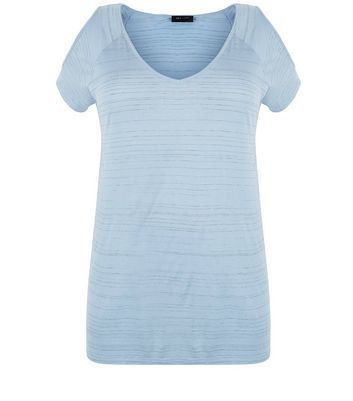 Curves Pale Blue Space Dye Cold Shoulder T Shirt - neckline: v-neck; pattern: plain; style: t-shirt; predominant colour: pale blue; occasions: casual; length: standard; fit: body skimming; shoulder detail: cut out shoulder; sleeve length: short sleeve; sleeve style: standard; pattern type: fabric; texture group: jersey - stretchy/drapey; fibres: viscose/rayon - mix; season: a/w 2016; wardrobe: highlight