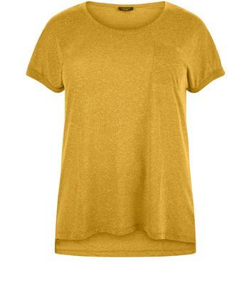 Curves Yellow Textured Pocket T Shirt - pattern: plain; style: t-shirt; predominant colour: mustard; occasions: casual; length: standard; fibres: polyester/polyamide - mix; fit: body skimming; neckline: crew; sleeve length: short sleeve; sleeve style: standard; pattern type: fabric; texture group: jersey - stretchy/drapey; season: a/w 2016; wardrobe: highlight