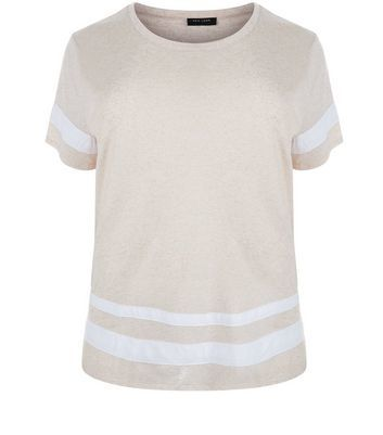 Curves Cream Stripe Trim Boyfriend T Shirt - pattern: horizontal stripes; style: t-shirt; secondary colour: white; predominant colour: blush; occasions: casual; length: standard; fibres: polyester/polyamide - mix; fit: body skimming; neckline: crew; sleeve length: short sleeve; sleeve style: standard; texture group: sheer fabrics/chiffon/organza etc.; pattern type: fabric; multicoloured: multicoloured; wardrobe: basic; season: a/w 2016