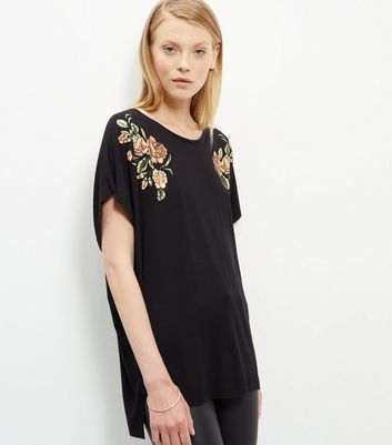 Black Textured Floral Print Batwing T Shirt - neckline: round neck; bust detail: added detail/embellishment at bust; length: below the bottom; style: t-shirt; secondary colour: coral; predominant colour: black; occasions: casual; fibres: cotton - 100%; fit: loose; sleeve length: short sleeve; sleeve style: standard; pattern type: fabric; pattern: florals; texture group: jersey - stretchy/drapey; embellishment: embroidered; season: a/w 2016; wardrobe: highlight
