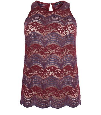 Curves Blue Stripe Lace Vest - pattern: plain; sleeve style: sleeveless; style: vest top; predominant colour: burgundy; secondary colour: purple; occasions: evening; length: standard; fibres: polyester/polyamide - 100%; fit: body skimming; neckline: crew; sleeve length: sleeveless; texture group: lace; pattern type: fabric; pattern size: standard; multicoloured: multicoloured; season: a/w 2016; wardrobe: event