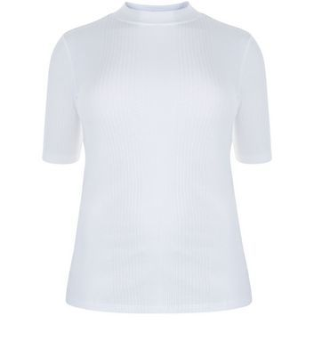 Curves White Ribbed Funnel Neck Top - pattern: plain; neckline: high neck; predominant colour: white; occasions: casual; length: standard; style: top; fibres: cotton - mix; fit: body skimming; sleeve length: short sleeve; sleeve style: standard; pattern type: fabric; texture group: jersey - stretchy/drapey; wardrobe: basic; season: a/w 2016