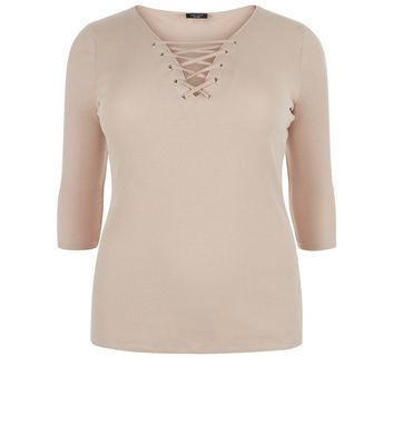 Curves Camel Lace Up Crop Top - neckline: v-neck; pattern: plain; predominant colour: nude; occasions: casual; length: standard; style: top; fibres: cotton - 100%; fit: body skimming; sleeve length: 3/4 length; sleeve style: standard; pattern type: fabric; texture group: jersey - stretchy/drapey; wardrobe: basic; season: a/w 2016