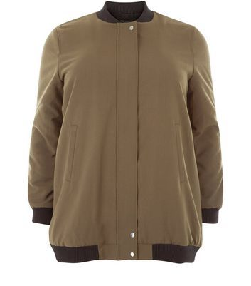 Curves Khaki Borg Lined Longline Bomber Jacket - pattern: plain; collar: round collar/collarless; fit: loose; style: bomber; predominant colour: khaki; secondary colour: black; occasions: casual; length: standard; fibres: polyester/polyamide - stretch; sleeve length: long sleeve; sleeve style: standard; texture group: crepes; collar break: high; pattern type: fabric; multicoloured: multicoloured; season: a/w 2016