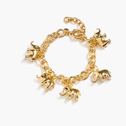 For David Sheldrick Wildlife Trust Elephant Charm Bracelet - predominant colour: gold; occasions: casual; style: charm; size: standard; material: chain/metal; finish: metallic; wardrobe: basic; season: a/w 2016