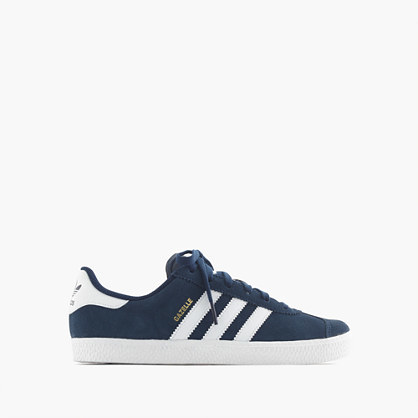 Kids' Adidas® Gazelle® Sneakers In Larger - secondary colour: white; predominant colour: navy; occasions: casual; material: leather; heel height: flat; toe: round toe; style: trainers; finish: plain; pattern: striped; multicoloured: multicoloured; season: a/w 2016; wardrobe: highlight