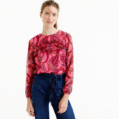 Ruffle Front Chiffon Top In Vibrant Paisley - pattern: paisley; predominant colour: hot pink; occasions: casual; length: standard; style: top; fibres: silk - 100%; fit: body skimming; neckline: crew; sleeve length: long sleeve; sleeve style: standard; texture group: sheer fabrics/chiffon/organza etc.; pattern type: fabric; season: a/w 2016; wardrobe: highlight