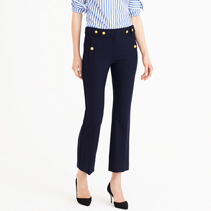 Petite Sailor Pant In Bi Stretch Wool - length: standard; pattern: plain; pocket detail: traditional 5 pocket; waist: mid/regular rise; predominant colour: navy; occasions: casual; fibres: wool - stretch; fit: bootcut; pattern type: fabric; texture group: woven light midweight; style: standard; wardrobe: basic; season: a/w 2016