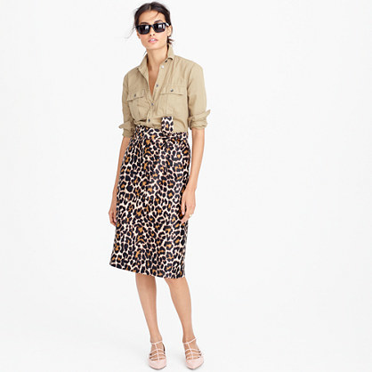 Tie Waist Skirt In Leopard Print - length: below the knee; style: pencil; fit: tailored/fitted; waist: high rise; waist detail: belted waist/tie at waist/drawstring; predominant colour: chocolate brown; fibres: polyester/polyamide - 100%; pattern type: fabric; pattern: animal print; texture group: woven light midweight; occasions: creative work; pattern size: big & busy (bottom); season: a/w 2016; wardrobe: highlight