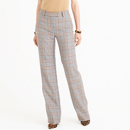 Petite Full Length Trouser In Glen Plaid - length: standard; pattern: checked/gingham; waist: mid/regular rise; secondary colour: ivory/cream; predominant colour: light grey; occasions: casual, creative work; fibres: wool - mix; fit: wide leg; pattern type: fabric; texture group: woven light midweight; style: standard; multicoloured: multicoloured; season: a/w 2016; wardrobe: highlight