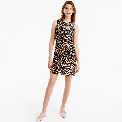 A Line Shift Dress In Leopard Print - style: shift; length: mid thigh; sleeve style: sleeveless; predominant colour: white; secondary colour: tan; occasions: evening; fit: body skimming; fibres: polyester/polyamide - 100%; neckline: crew; sleeve length: sleeveless; texture group: crepes; pattern type: fabric; pattern: animal print; multicoloured: multicoloured; season: a/w 2016; wardrobe: event