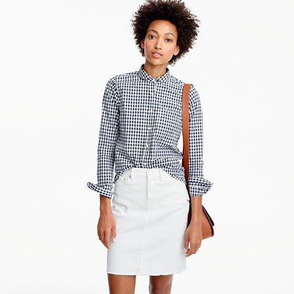 Petite Club Collar Boy Shirt In Gingham - neckline: shirt collar/peter pan/zip with opening; pattern: checked/gingham; style: shirt; secondary colour: white; predominant colour: black; occasions: casual; length: standard; fibres: cotton - 100%; fit: body skimming; sleeve length: long sleeve; sleeve style: standard; texture group: cotton feel fabrics; pattern type: fabric; multicoloured: multicoloured; season: a/w 2016