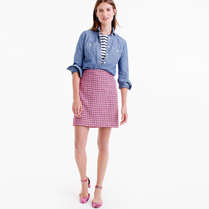 Mini Skirt In Pink Houndstooth - length: mini; fit: tailored/fitted; waist: high rise; predominant colour: pink; occasions: casual, creative work; style: mini skirt; fibres: wool - stretch; pattern: dogtooth; pattern type: fabric; texture group: other - light to midweight; pattern size: big & busy (bottom); season: a/w 2016; wardrobe: highlight