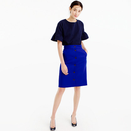 Button Front Skirt In Double Serge Wool - pattern: plain; style: straight; waist: mid/regular rise; predominant colour: royal blue; occasions: casual; length: on the knee; fibres: wool - 100%; fit: straight cut; pattern type: fabric; texture group: woven light midweight; season: a/w 2016