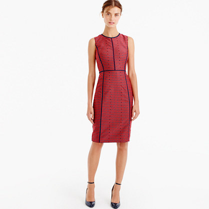 Sheath Dress In Crimson Foulard - style: shift; sleeve style: sleeveless; predominant colour: burgundy; secondary colour: black; occasions: evening; length: on the knee; fit: body skimming; fibres: silk - 100%; neckline: crew; sleeve length: sleeveless; pattern type: fabric; pattern size: light/subtle; pattern: colourblock; texture group: woven light midweight; season: a/w 2016; wardrobe: event