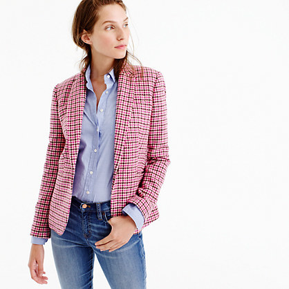 Campbell Blazer In Pink Houndstooth - pattern: checked/gingham; style: single breasted blazer; collar: standard lapel/rever collar; predominant colour: hot pink; secondary colour: burgundy; occasions: casual, creative work; length: standard; fit: tailored/fitted; fibres: wool - mix; sleeve length: long sleeve; sleeve style: standard; collar break: medium; pattern type: fabric; pattern size: standard; texture group: tweed - light/midweight; multicoloured: multicoloured; season: a/w 2016; wardrobe: highlight