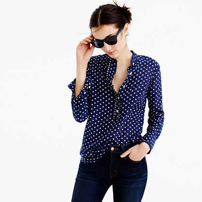 Ruffled Popover Shirt In Polka Dot - neckline: shirt collar/peter pan/zip with opening; style: shirt; pattern: polka dot; secondary colour: white; predominant colour: royal blue; occasions: casual; length: standard; fibres: cotton - mix; fit: body skimming; sleeve length: long sleeve; sleeve style: standard; pattern type: fabric; texture group: woven light midweight; multicoloured: multicoloured; season: a/w 2016