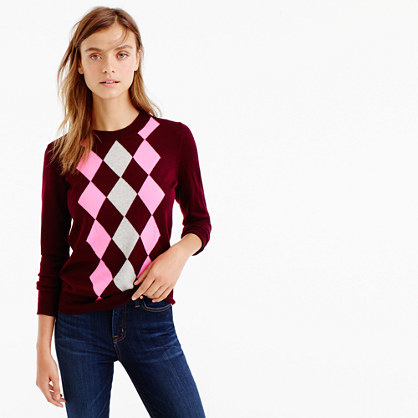 Tippi Sweater In Argyle - pattern: argyll; style: standard; secondary colour: blush; predominant colour: burgundy; occasions: casual; length: standard; fibres: wool - 100%; fit: standard fit; neckline: crew; sleeve length: long sleeve; sleeve style: standard; texture group: knits/crochet; pattern type: fabric; multicoloured: multicoloured; season: a/w 2016; wardrobe: highlight