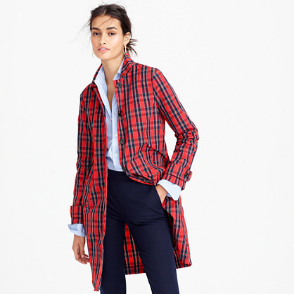 Collection Red Plaid Trench Coat In Nylon - pattern: checked/gingham; style: trench coat; length: mid thigh; predominant colour: true red; secondary colour: navy; occasions: casual, creative work; fit: straight cut (boxy); fibres: cotton - 100%; collar: shirt collar/peter pan/zip with opening; sleeve length: long sleeve; sleeve style: standard; texture group: cotton feel fabrics; collar break: high; pattern type: fabric; pattern size: standard; multicoloured: multicoloured; season: a/w 2016; wardrobe: highlight
