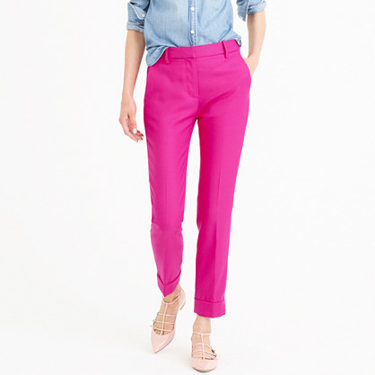 Petite Rhodes Pant In Italian Wool - length: standard; pattern: plain; waist: mid/regular rise; predominant colour: hot pink; occasions: casual, creative work; style: chino; fibres: wool - 100%; fit: tapered; pattern type: fabric; texture group: woven light midweight; season: a/w 2016; wardrobe: highlight