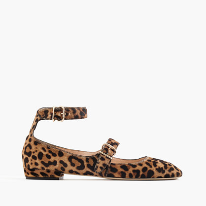 Double Strap Flats In Leopard Calf Hair - predominant colour: tan; secondary colour: black; occasions: casual, creative work; material: animal skin; heel height: flat; ankle detail: ankle strap; toe: pointed toe; style: ballerinas / pumps; finish: plain; pattern: animal print; season: a/w 2016; wardrobe: highlight