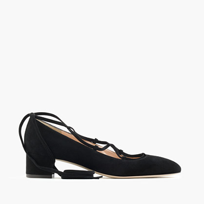 Lace Up Heels In Suede - predominant colour: black; occasions: casual; material: suede; heel height: mid; ankle detail: ankle tie; heel: block; toe: pointed toe; style: courts; finish: plain; pattern: plain; season: a/w 2016
