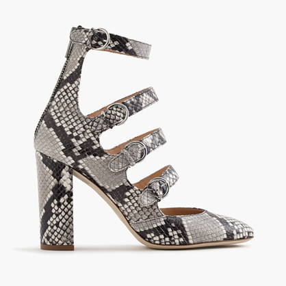 Pumps In Snakeskin Printed Leather - predominant colour: light grey; occasions: evening; material: leather; heel height: high; heel: block; toe: pointed toe; style: courts; finish: plain; pattern: animal print; multicoloured: multicoloured; season: a/w 2016; wardrobe: event