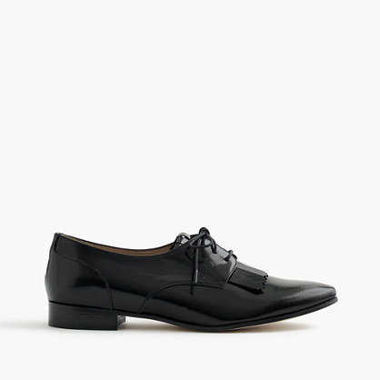 Leather Oxfords With Fringe - predominant colour: black; occasions: casual, work, creative work; material: leather; heel height: flat; toe: pointed toe; style: loafers; finish: plain; pattern: plain; embellishment: fringing; wardrobe: basic; season: a/w 2016