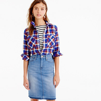 Boyfriend Shirt In Cerulean Plaid - neckline: shirt collar/peter pan/zip with opening; pattern: checked/gingham; style: shirt; secondary colour: ivory/cream; predominant colour: royal blue; occasions: casual; length: standard; fibres: cotton - 100%; fit: body skimming; sleeve length: long sleeve; sleeve style: standard; pattern type: fabric; texture group: woven light midweight; multicoloured: multicoloured; season: a/w 2016; wardrobe: highlight