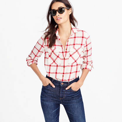 Petite Boyfriend Shirt In Vintage Red Plaid - neckline: shirt collar/peter pan/zip with opening; pattern: checked/gingham; style: shirt; predominant colour: white; secondary colour: true red; occasions: casual; length: standard; fibres: cotton - 100%; fit: body skimming; sleeve length: long sleeve; sleeve style: standard; texture group: cotton feel fabrics; pattern type: fabric; multicoloured: multicoloured; season: a/w 2016; wardrobe: highlight