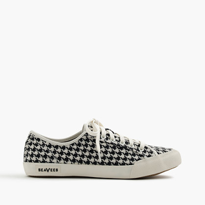 Seavees® For 06/67 Monterey Sneakers In Houndstooth - secondary colour: ivory/cream; predominant colour: black; occasions: casual, creative work; material: fabric; heel height: flat; toe: round toe; style: trainers; finish: plain; pattern: dogtooth; season: a/w 2016; wardrobe: highlight