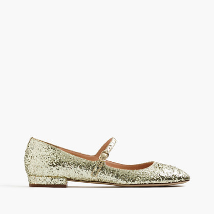 Mary Jane Flats In Glitter - predominant colour: gold; occasions: evening, creative work; material: faux leather; heel height: flat; embellishment: glitter; toe: round toe; finish: metallic; pattern: plain; style: mary janes; season: a/w 2016; wardrobe: highlight