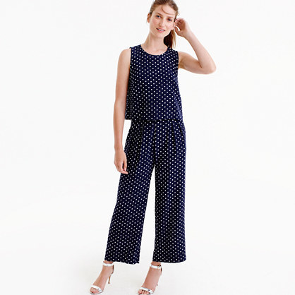 Silk Overlay Jumpsuit In Polka Dot - sleeve style: sleeveless; pattern: polka dot; bust detail: subtle bust detail; secondary colour: white; predominant colour: navy; occasions: casual; length: ankle length; fit: body skimming; fibres: silk - 100%; neckline: crew; sleeve length: sleeveless; style: jumpsuit; pattern type: fabric; texture group: woven light midweight; multicoloured: multicoloured; season: a/w 2016; wardrobe: highlight