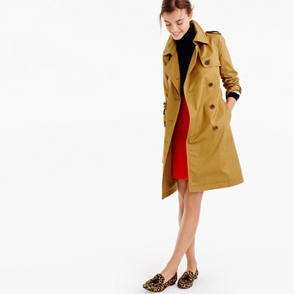 City Trench - pattern: plain; style: trench coat; length: on the knee; fit: slim fit; collar: standard lapel/rever collar; predominant colour: camel; occasions: casual; fibres: cotton - 100%; waist detail: belted waist/tie at waist/drawstring; sleeve length: long sleeve; sleeve style: standard; collar break: medium; pattern type: fabric; texture group: woven light midweight; season: a/w 2016