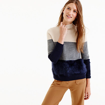 Collection Colorblock Shearling Sweater - pattern: horizontal stripes; neckline: roll neck; style: standard; predominant colour: ivory/cream; secondary colour: navy; occasions: casual; length: standard; fibres: wool - 100%; fit: loose; sleeve length: long sleeve; sleeve style: standard; texture group: knits/crochet; pattern type: fabric; embellishment: fur; multicoloured: multicoloured; season: a/w 2016