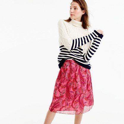 Double Pleated Skirt In Vivid Paisley - length: below the knee; fit: loose/voluminous; style: pleated; waist: high rise; predominant colour: hot pink; fibres: silk - 100%; occasions: occasion, creative work; texture group: silky - light; pattern type: fabric; pattern: florals; pattern size: big & busy (bottom); season: a/w 2016; wardrobe: highlight