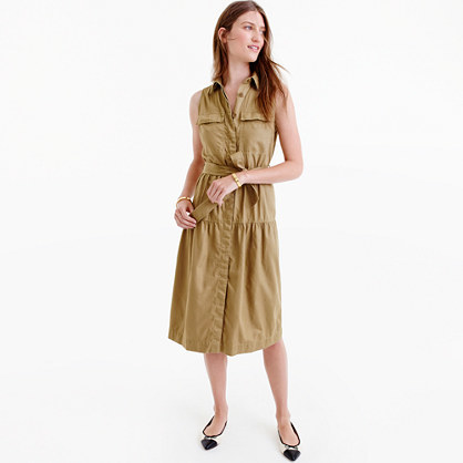 Tiered Fatigue Shirtdress - style: shirt; length: below the knee; neckline: shirt collar/peter pan/zip with opening; pattern: plain; sleeve style: sleeveless; waist detail: belted waist/tie at waist/drawstring; predominant colour: khaki; occasions: casual; fit: body skimming; fibres: cotton - 100%; sleeve length: sleeveless; texture group: cotton feel fabrics; pattern type: fabric; wardrobe: basic; season: a/w 2016