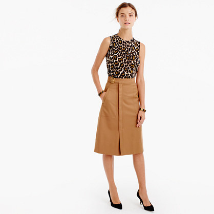 Belted A Line Skirt - length: below the knee; pattern: plain; style: wrap/faux wrap; fit: loose/voluminous; waist: high rise; predominant colour: camel; occasions: casual, work, creative work; fibres: wool - mix; pattern type: fabric; texture group: woven light midweight; wardrobe: basic; season: a/w 2016