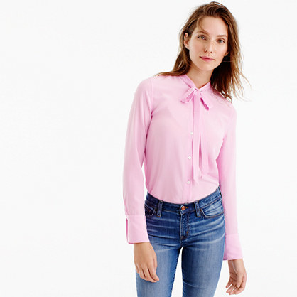 Tie Front Silk Top - pattern: plain; neckline: pussy bow; style: blouse; predominant colour: blush; occasions: casual; length: standard; fibres: silk - 100%; fit: body skimming; sleeve length: long sleeve; sleeve style: standard; texture group: silky - light; pattern type: fabric; season: a/w 2016; wardrobe: highlight